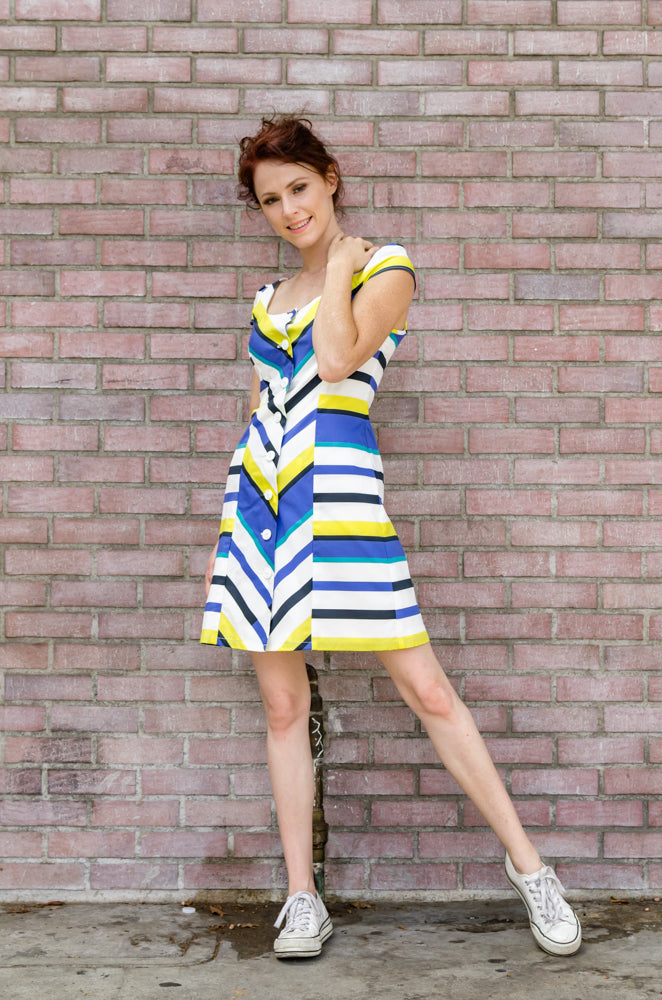Spring Summer Women's Italian Poplin Corset Princess Lines Mini Dress in Blue and Yellow Stripes