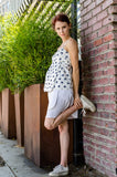 Side view of our Wrap Mini Skirt in White and Wrap Empire Tank Top in Navy Crab.  How cute are they together.