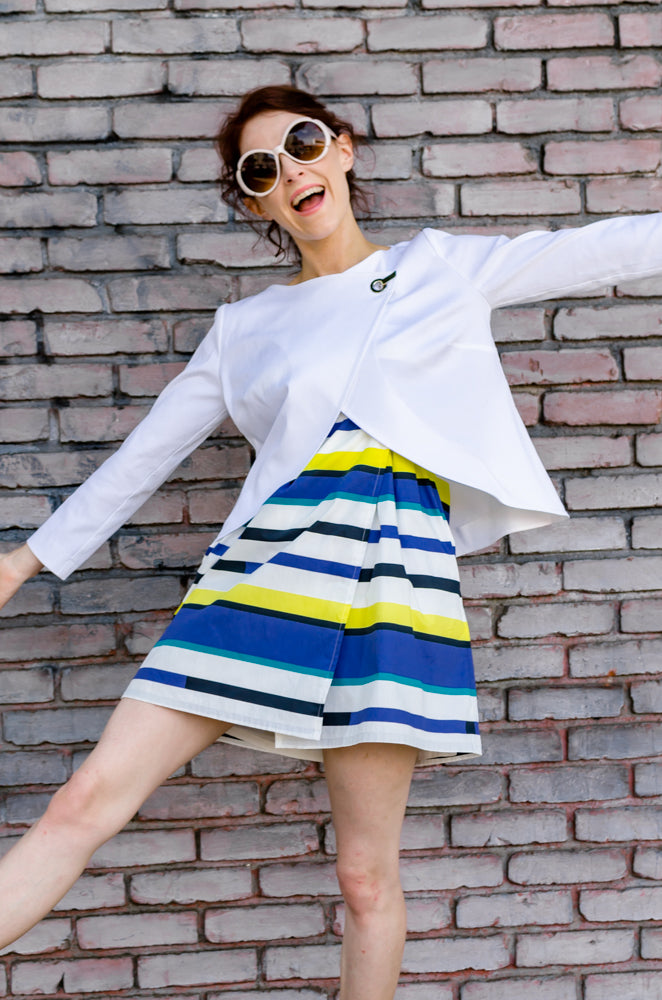 Put your hands in the air, like you don't care! It's summer after all, and you look fab in your new Overlapping Front Cotton Jacket in White paired with Wrap Empire Mini in Yellow Strip Italian Poplin.