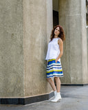 Spring Summer Women Italian Cotton Box Pleats Skirt with Pockets in Blue and Yellow Stripes