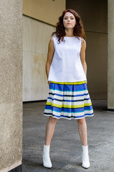 A-line Cropped Top in White Pique has clean lines and holds its structure for an architectural look.