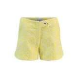 Designer Scalloped Hem Tweed Shorts with Front Tab and Eyelet Closure
