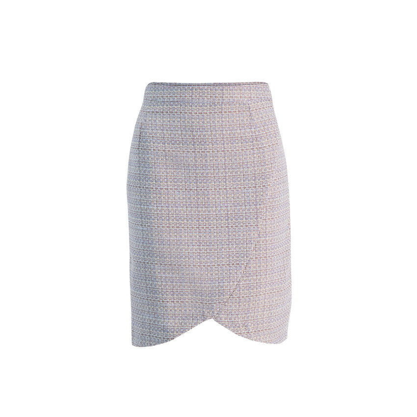 Women's Fall/Winter Lightweight Tweed Short Classic Pencil Skirt with Scallop Hem