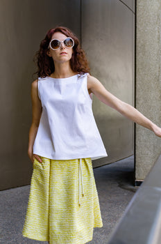 Spring Summer Boucle Bell Skirt with Rolled Out Shaped Waistband, Eyelets and Side Pockets
