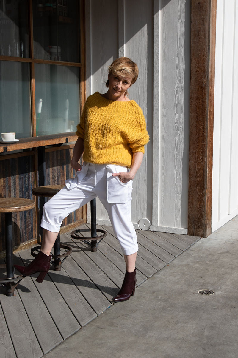 Outfit of the day is easy with this perfect combination, Loose Pockets Cropped Pants in White from our latest Spring Summer collection and mellow yellow shade of off shoulder sweater (Love Culture). Ankle boots are the MUST, any color will do! Inga Goodman is modeling For Ever 21 boots in Eggplant.