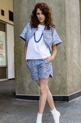 Spring Summer Designer Scalloped Hem Tweed Shorts with Front Tab and Eyelet Closure