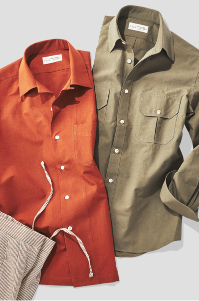 Orange and beige solid shirts next to dress pants