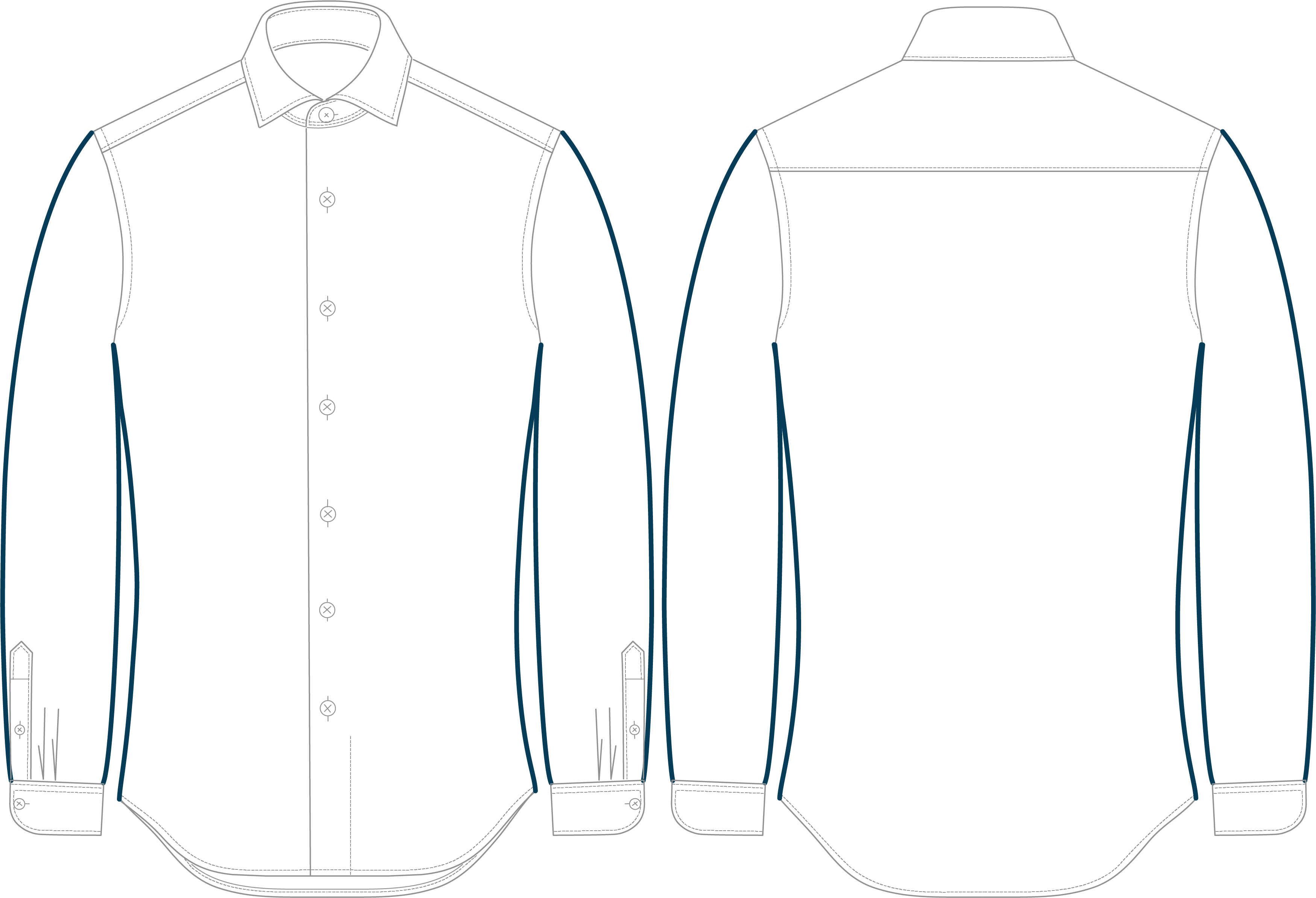 Very slim fit dress shirt with emphasis on short arms and body length
