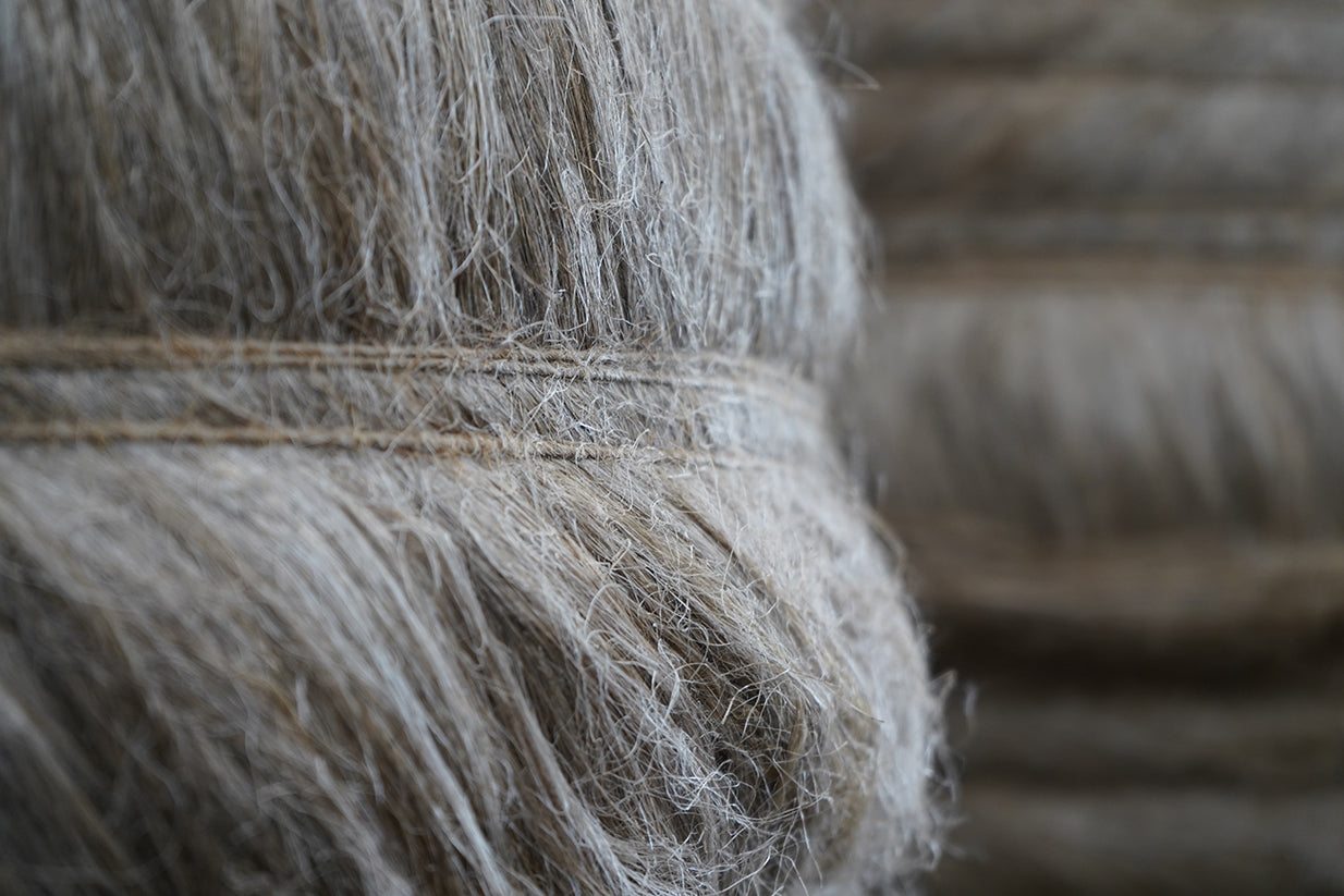 Wrapped flax fibers
