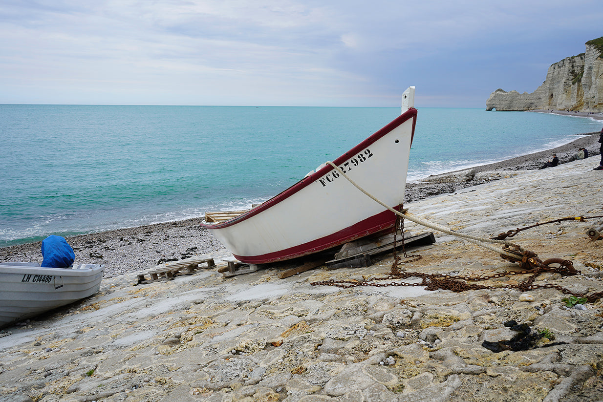 Moored boat by the seashore in Normandy