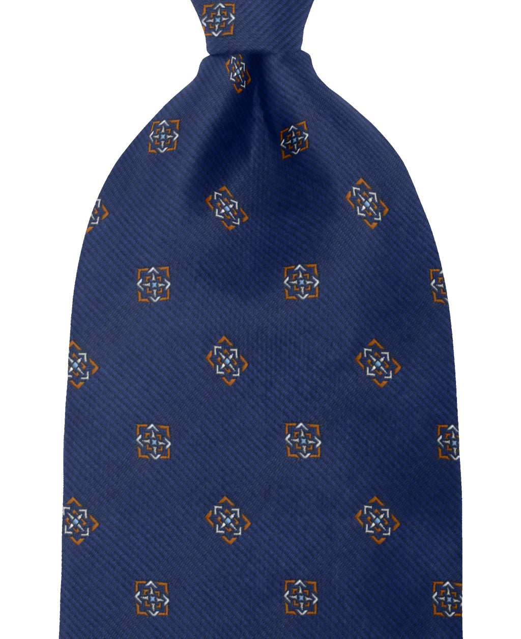 Navy patterned silk tie