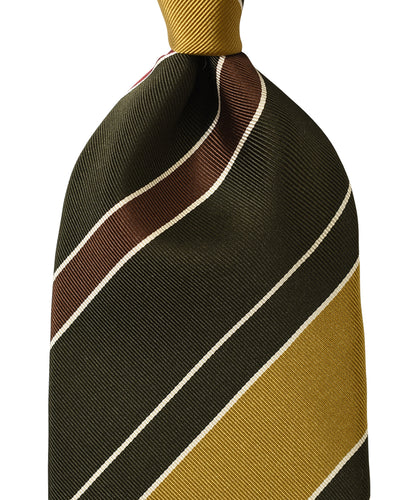 Yellow stripe silk tie