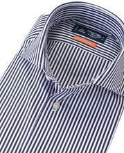 Load image into Gallery viewer, Close up pf blue stripe cotton shirt