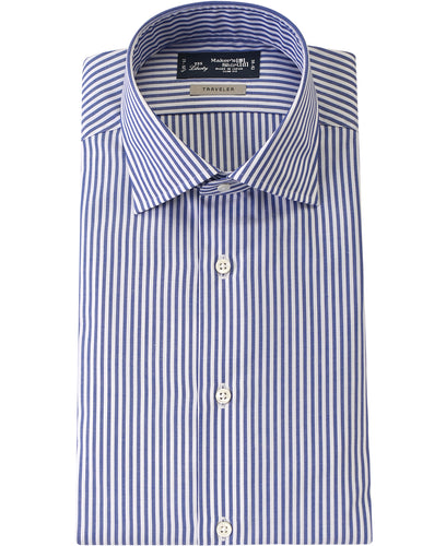 Blue stripe cotton and polyester shirt