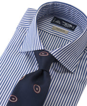 Load image into Gallery viewer, Blue stripe cotton and polyester shirt with tie