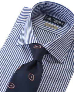 Blue stripe cotton and polyester shirt with tie