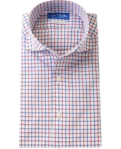 Red check cotton and linen shirt