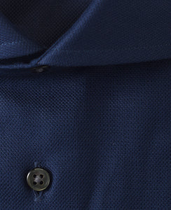 Close up of navy cotton shirt