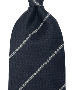 Navy and white stripe silk tie