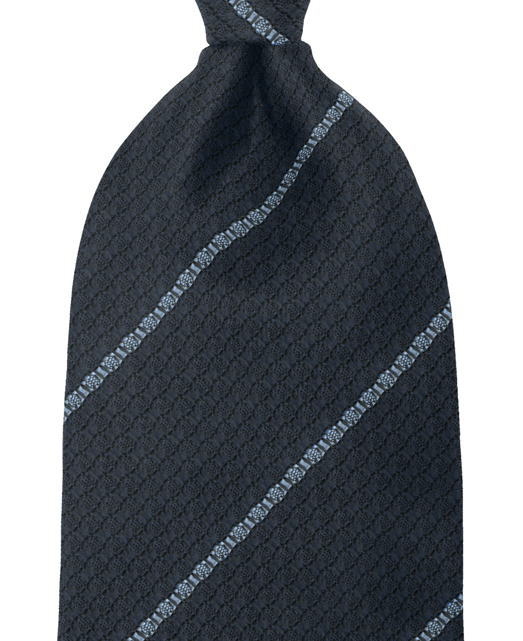 Navy and blue stripe silk tie