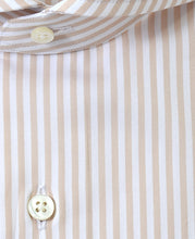 Load image into Gallery viewer, Close up of beige stripe cotton shirt