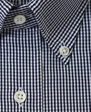 Load image into Gallery viewer, Close up of navy check cotton shirt