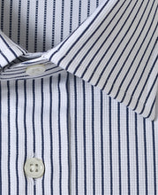 Load image into Gallery viewer, Close up of navy stripe cotton shirt