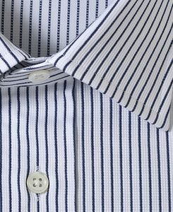 Close up of navy stripe cotton shirt