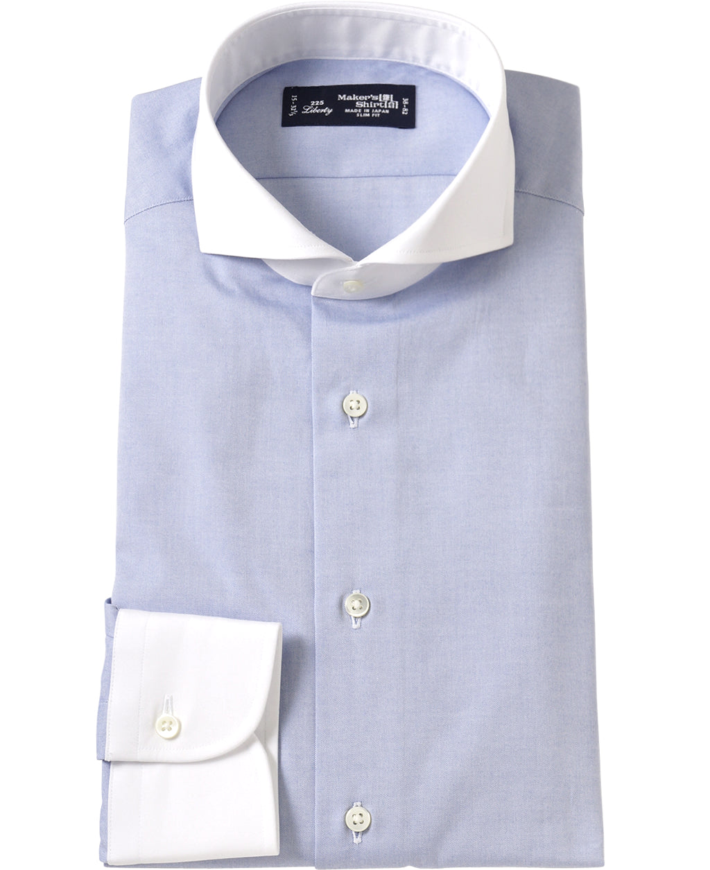 White contrast collar blue shirt