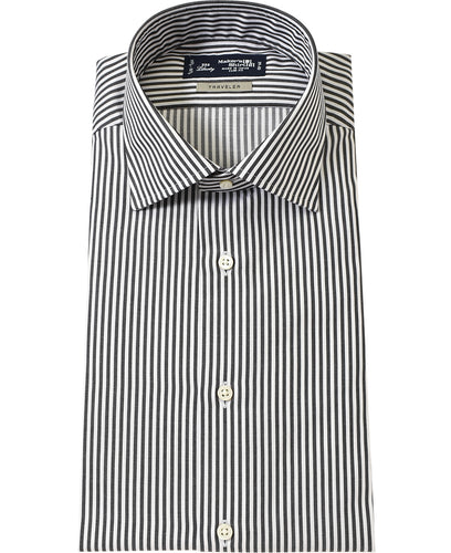 Black stripe cotton and polyester shirt