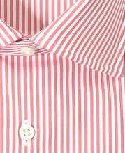 Load image into Gallery viewer, Close up of pink stripe cotton shirt