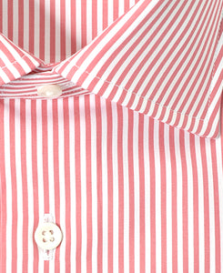 Close up of pink stripe cotton shirt