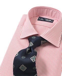 Pink stripe cotton shirt with tie