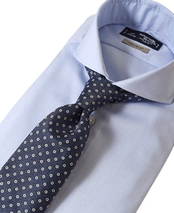 Blue cotton and polyester shirt with tie