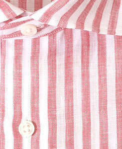 Close up of red stripe linen shirt