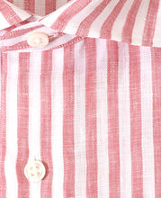 Load image into Gallery viewer, Close up of red stripe linen shirt