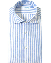 Load image into Gallery viewer, Blue stripe linen shirt