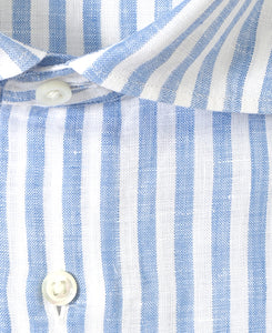 Close up of blue stripe linen shirt