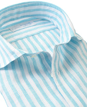 Load image into Gallery viewer, Close up of blue stripe linen shirt