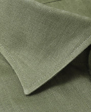 Load image into Gallery viewer, Close up of green linen shirt