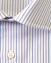 Load image into Gallery viewer, Close up of purple stripe cotton shirt
