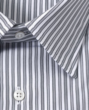 Load image into Gallery viewer, Close up of gray stripe cotton shirt