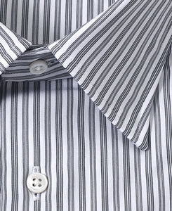 Close up of gray stripe cotton shirt