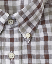 Load image into Gallery viewer, Close up of brown check linen shirt