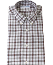 Load image into Gallery viewer, Brown check linen shirt