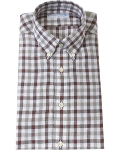 Brown check linen shirt