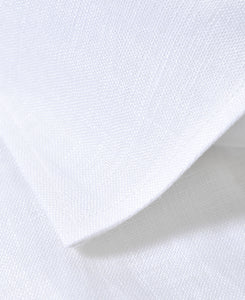 Close up of white linen shirt