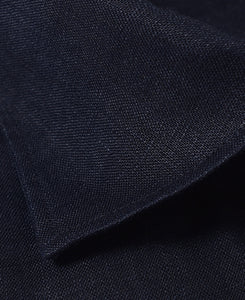 Close up of navy linen shirt