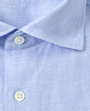 Load image into Gallery viewer, Close up of blue linen shirt