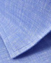 Load image into Gallery viewer, Closeup of blue linen shirt